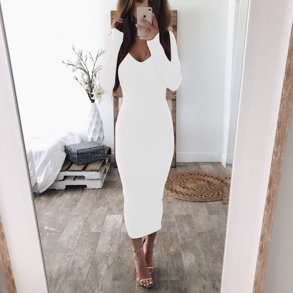 Women Fashion Sexy V Neck Long Sweater Bodycon Dress Ladies Casual Solid Color Long Sleeve Stretch Slim Knit Pencil Party Dress in Dresses from Women 39 s Clothing
