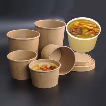 50 sztuk paczka duża pojemność Kraft jednorazowego użytku papier miska Eco na wynos torebka na żywność kubek papierowy papierowy pojemnik na Lunch tanie i dobre opinie TAROOHOME CN (pochodzenie) Drewna