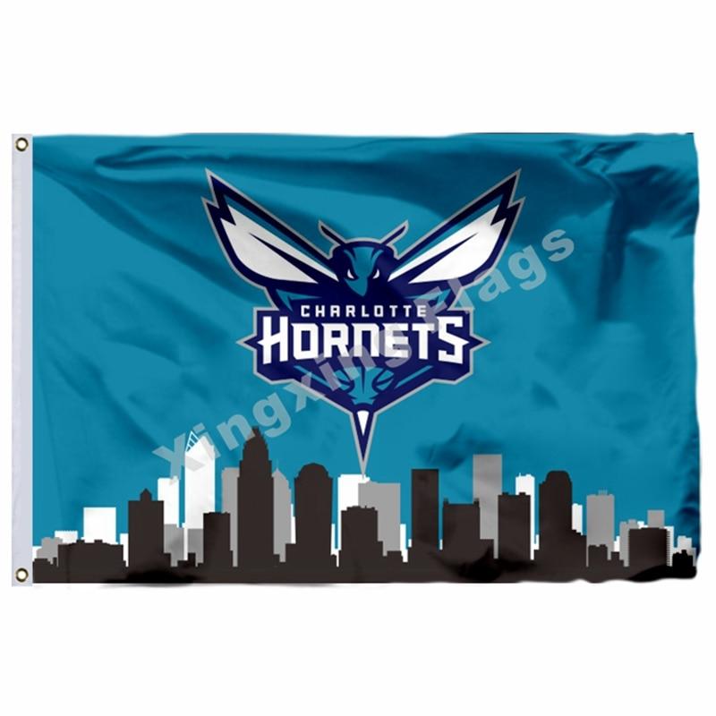 d4e2f370667 Charlotte Hornets Charlotte Skyline Basketball Flag Logo NBA Banner 3x5ft