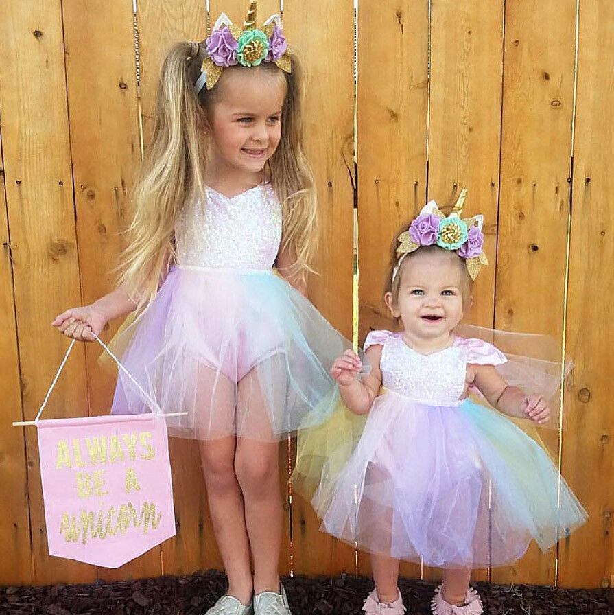 Cute Baby Girl Sequins Princess Party Dresse Kids Rainbow Bodysuit ...