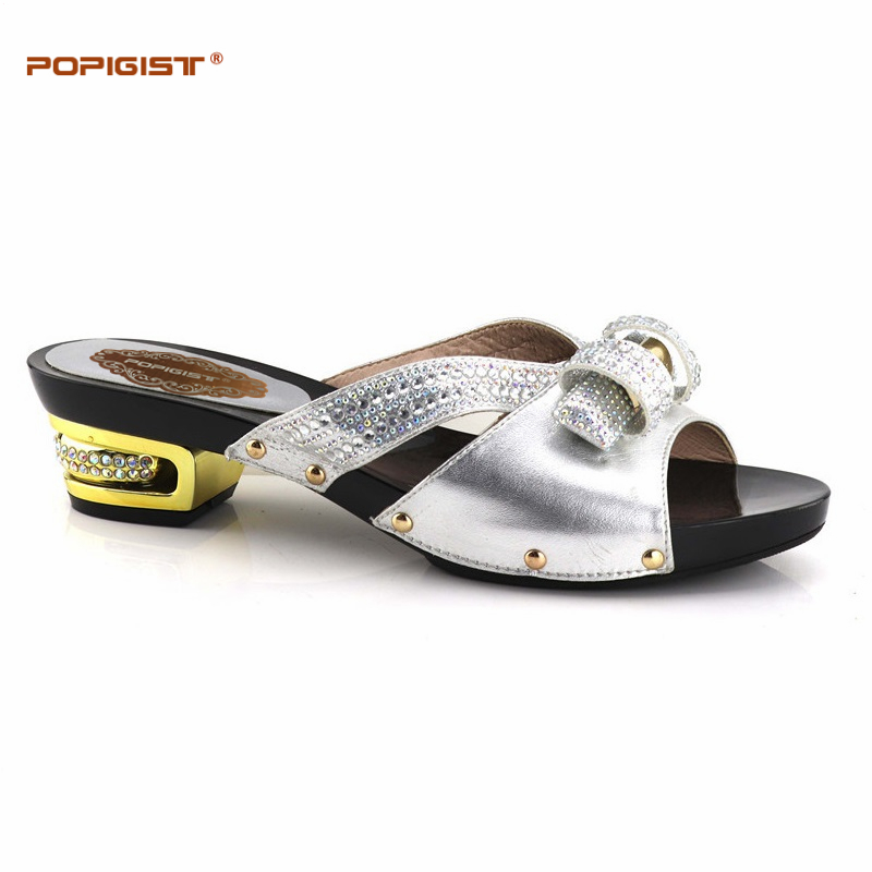 Short 5.3cm Heels Italian Shoes Without Matching Bags Set For Party African  Nigeria Wedding Shoes To Match With Stones Silver 0bd07a8a1b04