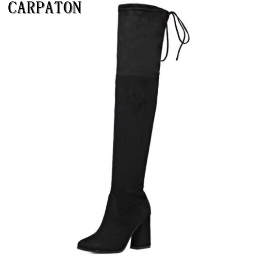 New fashion black stretch fabric thigh high boots pointed toe thick heels over the knee boots for woman 2017 long boots chuassure female boots peep toe high thick heels over the knee boots women autumn boots stretch fabric boots casual shoes black