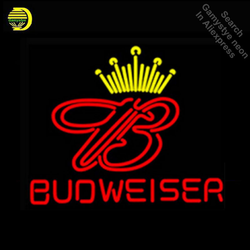Budweise Neon Sign GLASS Tube Handcraft neon Light Signs custom Advertise vintage neon lamps wholesale fluorescent signs