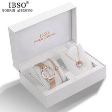 IBSO damski zestaw zegarków kwarcowych różowe złoto kryształ Design bransoletka zegarek naszyjnik zestaw zegarków s damska biżuteria zestaw zegarek damski żona mama prezent