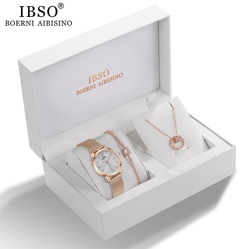 IBSO Women Quartz Watch Set Rose Gold Crystal Design Bracelet Necklace Watch Sets Female Jewelry Set Watch Lady's Wife Mom Gift title=