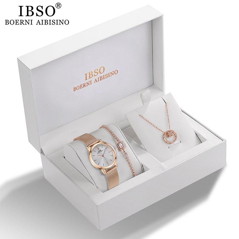 IBSO, женские кварцевые часы, набор, розовое золото, кристалл, дизайн, браслет, ожерелье, комплекты с часами Женский комплект украшений, часы для леди, жены, мамы, подарок