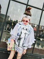Runway Brand T shirt Female 2018 Novelty Lace Flare Sleeve White Horse Print Tassel Summer T shirt Women Lace Sleeve T shirt
