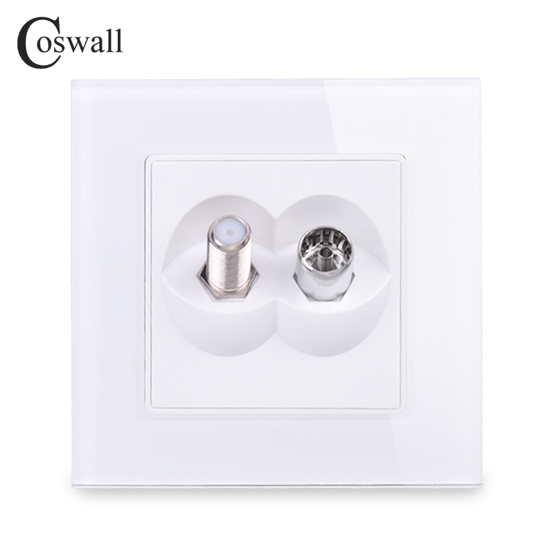Coswall Tempered Crystal Glass Panel Female TV Connector With Satellite Outlet Wall Socket Black White Gold Grey Colorful Series