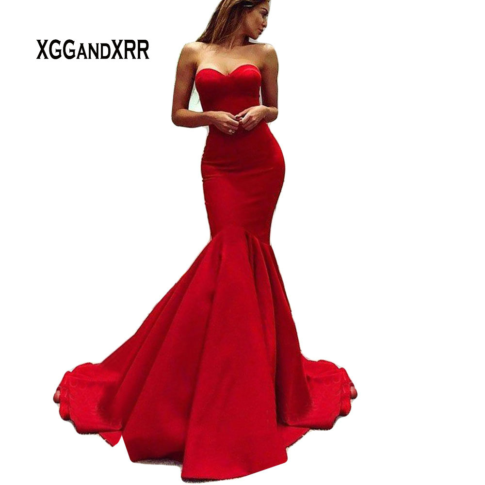 Hot Sale Red Mermaid Prom Dress 2019 Satin Long Satin Dress Sweetheart Off Shoulder Sexy Backless
