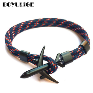 2019 New Boeing Airplane Men Anchor Bracelet Rope Chain Black Charm Bracelets For Women Male Survival Aviation Style Sport Hooks(China)