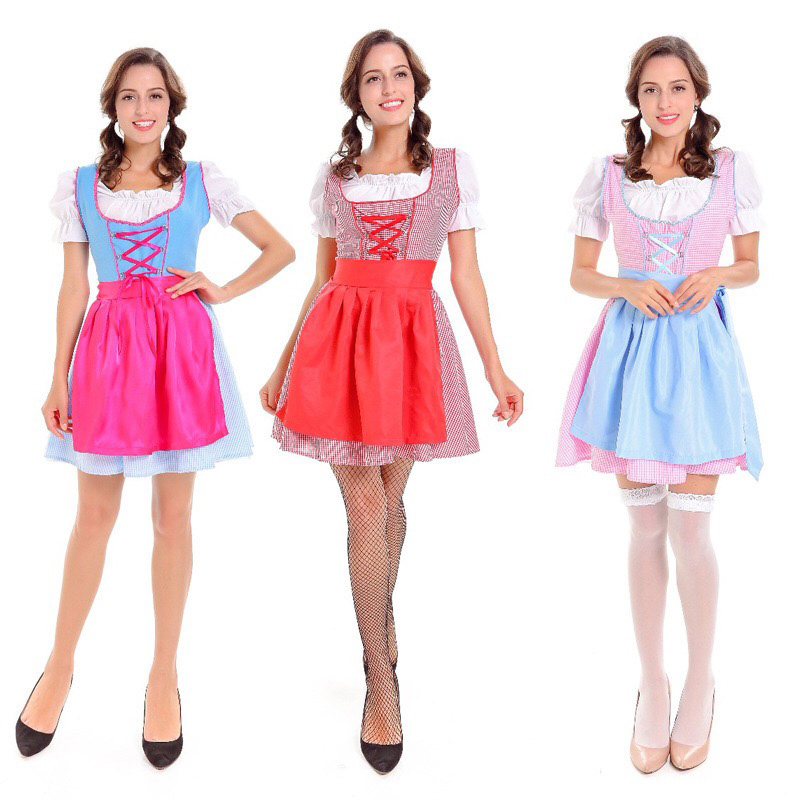Adult Women Peasant Oktoberfest Costume Dirndl Ladies Short Plaid Puff Apron Pink Dress Bavaria Outfit For Teen Girls Plus Size