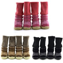 Deer Leather Dog Snow Boots Teddy Dog Shoes Winter Style Animal Winter Shoes Anti-Slip Cotton Soft Leather Waterproof Warm Boots