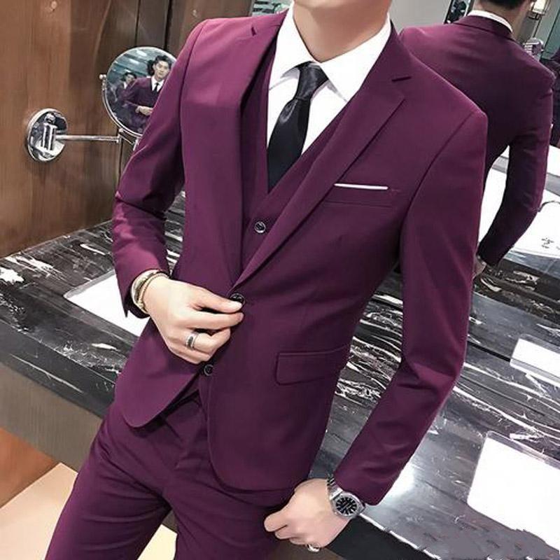 Stylish Design One Button Burgundy Groom Tuxedos Groomsmen Notch Lapel Mens Suits Blazers (Jacket+Pants+Vest+Tie) W:1119
