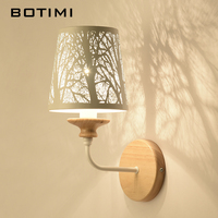 BOTIMI Designer White Wall Lamp LED Wall Sconce Metal Wall lights For Home Reading Wooden Bedside Lighting Fixtures