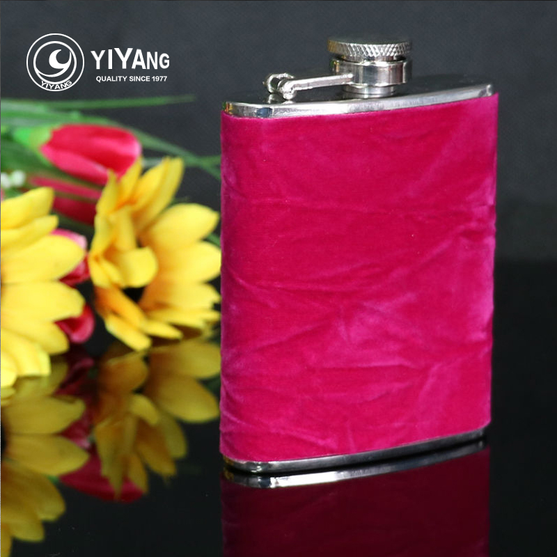 pink velvet wrapped flasks protable 3oz stainsless steel hip flask mini whisky alcohol bottle womens drinkware flagon