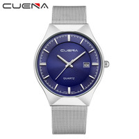 CUENA Chronograph Men S Quartz Watch Stainless Steel Mesh Band Gold Hardlex Slim Men Clock Multi