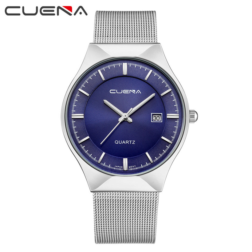 CUENA Chronograph Men's Quartz Watch Stainless Steel Mesh Band Gold Hardlex Slim Men Clock Multi-function Sports Watches fashion men s casual quartz watch stainless steel mesh band gold watch slim men watches multi function sports watches relogio