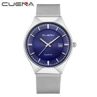 CUENA Chronograph Men's Quartz Watch Stainless Steel Mesh Band Gold Hardlex Slim Men Clock Multi-function Sports Watches