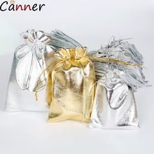 CANNER 100pcs/lot Jewelry Packing Bag Gift Bags Jewelry Bags Pouch Foil Cloth Drawstring Velvet Bag Adjustable Organza Pouch F40 1000pcs high quality semicircle shaped black velvet pouch drawstring jewelry bags customized 8cm 10cm