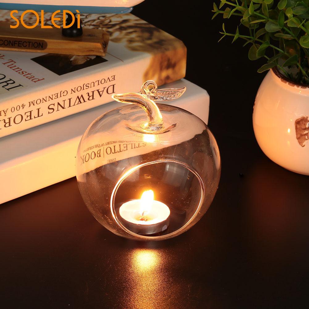 Портативная Горячая в форме яблока классическая хрустальная стеклянная подставка для свечи Свадебная бар вечерние домашний декоративный подсвечник прозрачный орнамент