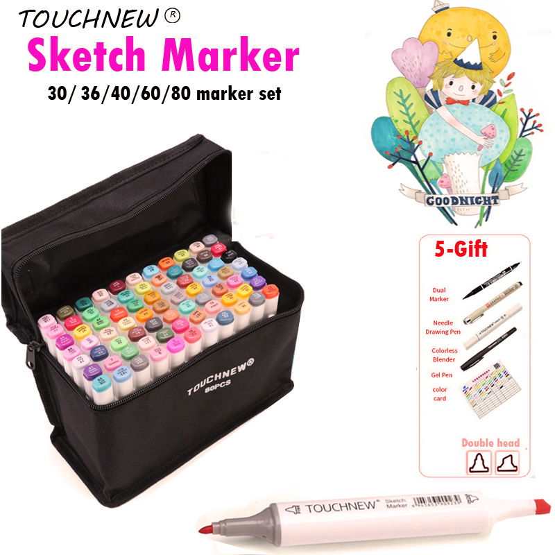 TOUCHNEW Alcohol Brush Marker 30/40/60 Color Dual Head Marker Set, Alcohol Sketch Artist Brush Drawing Manga Design Art Supplier цена