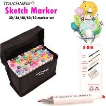 TOUCHNEW Alcohol Brush Marker 30/40/60 Color Dual Head Marker Set, Alcohol Sketch Artist Brush Drawing Manga Design Art Supplier