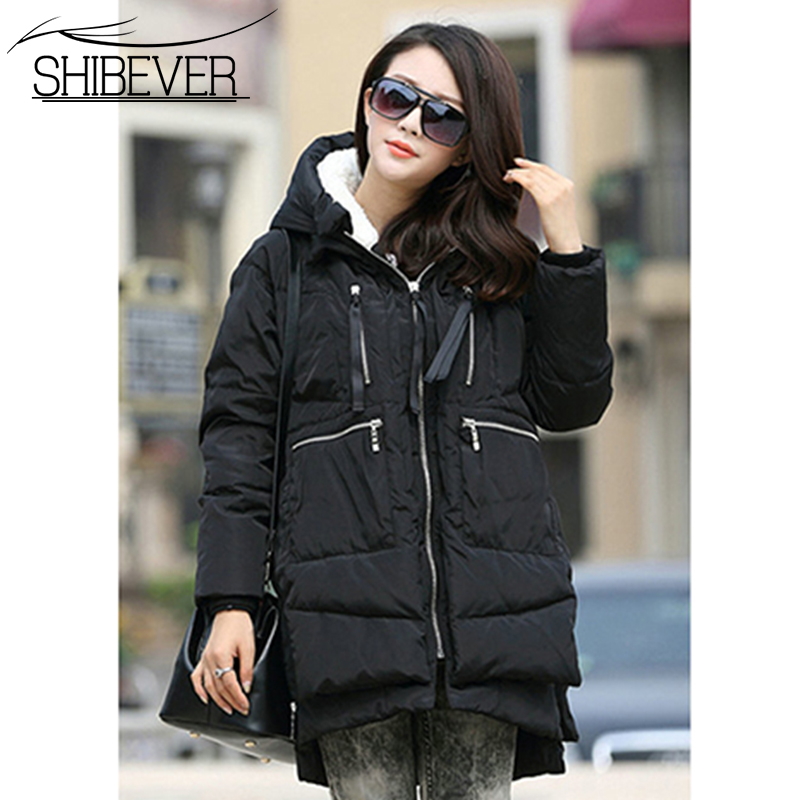 SHIBEVER Thick Cotton Warm Winter Parka Fashion Women Ladies Casual Long  Jacket Hooded Women Winter Coat 68d93e947359