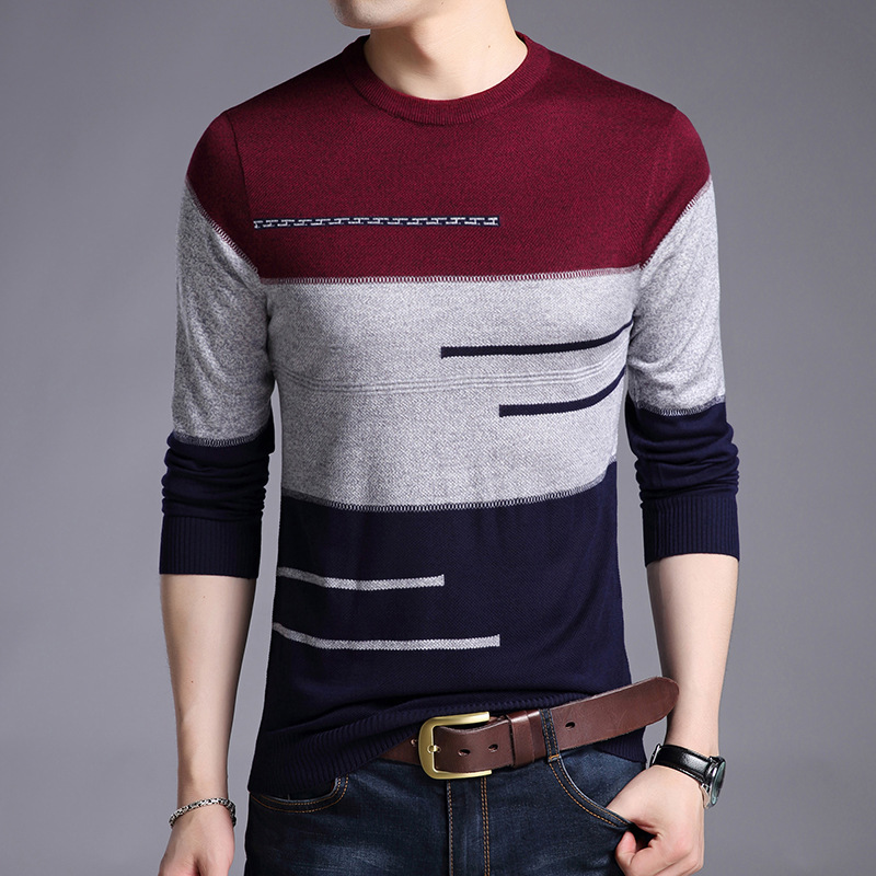 Jbersee 2018 Autumn Fashion Brand Casual Sweater Men O-Neck Striped Knitting Pullover Men Slim Fit Mens Sweaters And Pullover