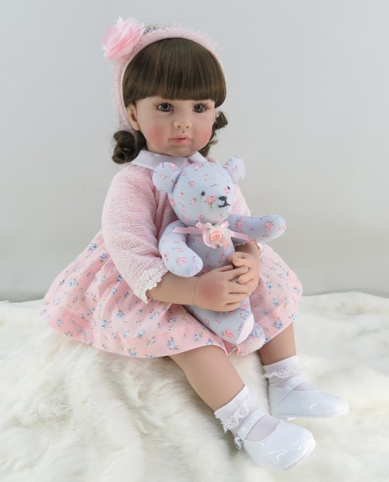 60cm Silicone Reborn Girl Baby Doll Toys Vinyl Pink Princess Toddler Babies Dolls With Bear Birthday Gift Limited Edition Doll silicone bear