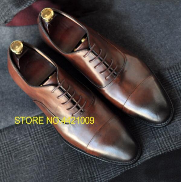 genuine leather men wedding derby shoes black brown business dress tuxedo lace up oxfords shoes 2018 retro handmade oxfords shoe