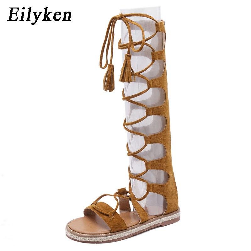 60dcc95d45821 Eilyken Roman Lace Up Women Gladiator Sandals 2018 Open Toe Knee High  Summer Cross-tied Leisure Flat Boots Plus Size 35--40 - aliexpress.com -  imall.com