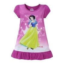2016 Baby Girls Dress Snow Cartoon O-neck Pink Children Costume Dresses Printed Cute Short Sleeve Dresses For Girls clothing