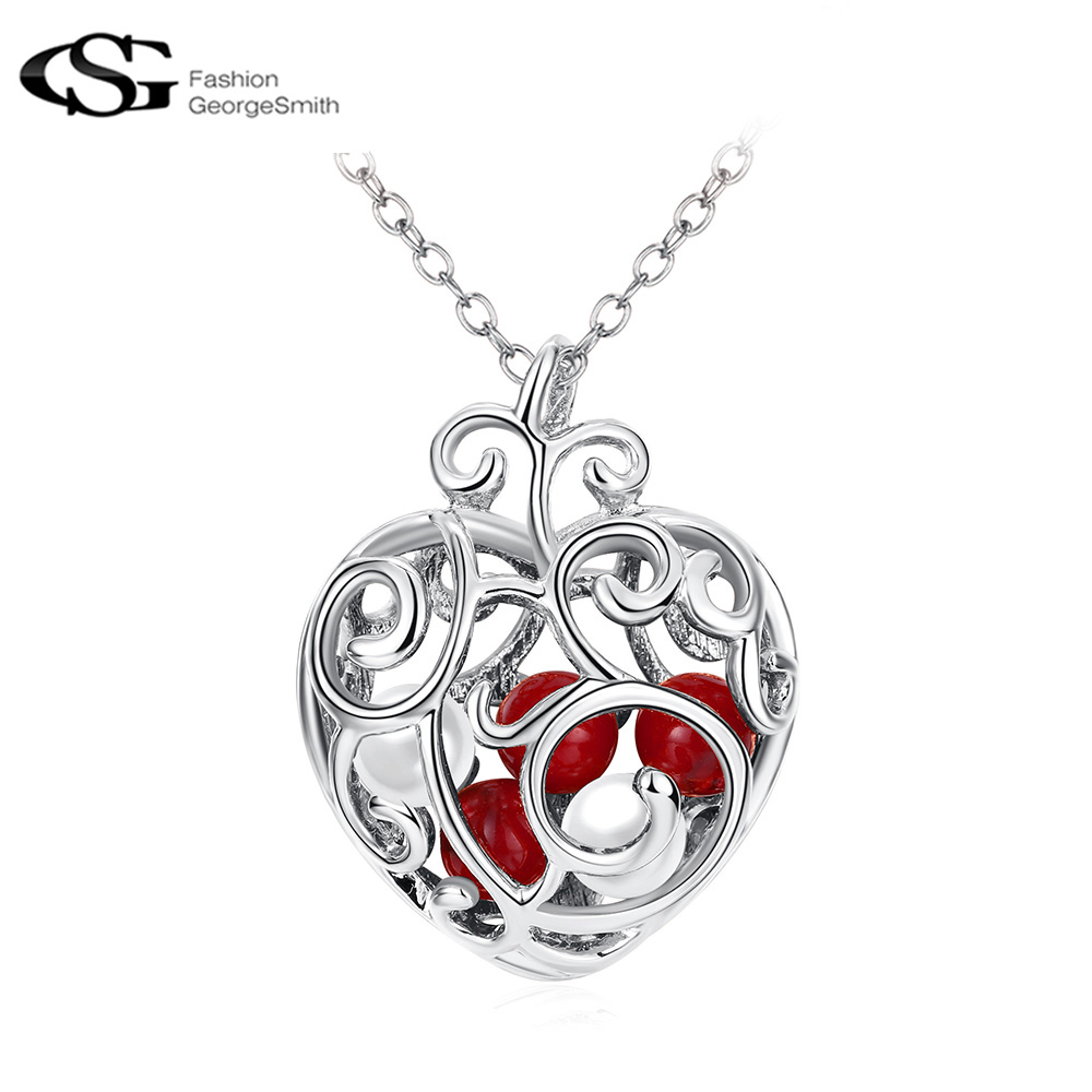 GS Necklace Women Rose Color Lovely Heart with Red Beads Inside Pendant Christmas Gifts Cute Girls Necklace Pendant