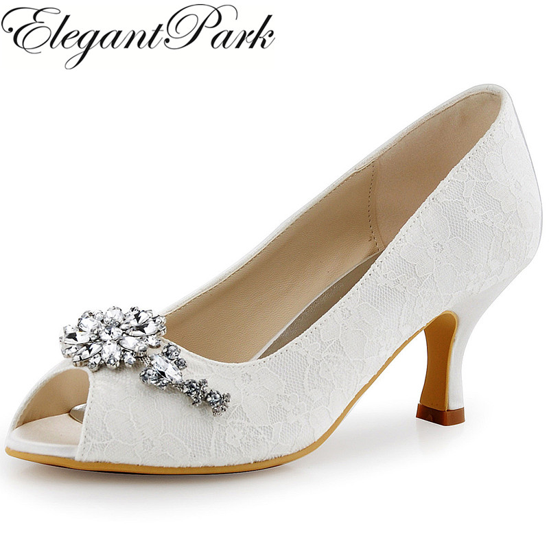 Woman Shoes Wedding Bridal Mid Heel Rhinestones Peep Toe Lace Lady Bridesmaid Bride Dress Prom Party Pumps Ivory White HP1539