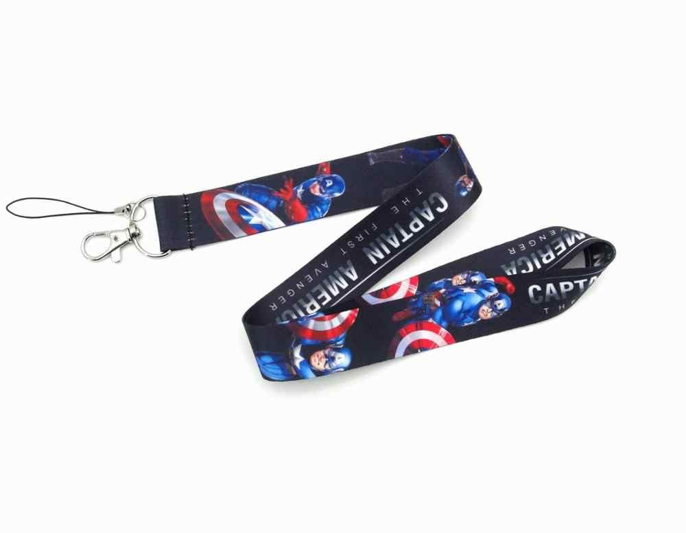 Capitão américa homem aranha hulk chaves telefone pescoço cinta brinquedos marvel avengers anime super heros figura pescoço cinta colhedores
