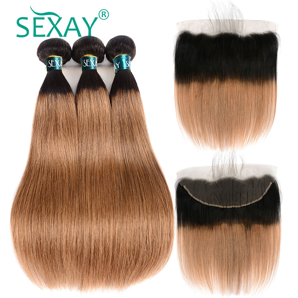<font><b>1B</b></font>/<font><b>30</b></font> Dark Blonde <font><b>Bundles</b></font> <font><b>With</b></font> Frontal SEXAY Brazilian Straight Hair Non Remy Pre Colored Ombre Human Hair <font><b>Bundles</b></font> <font><b>With</b></font> <font><b>Closures</b></font> image