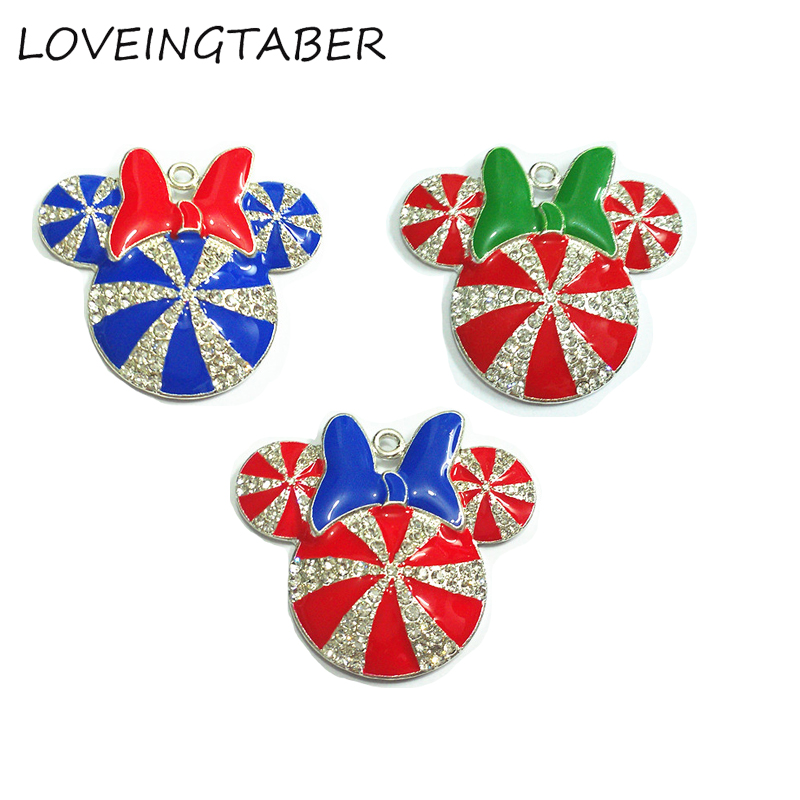 ( Choose Color First ) 41MM 10pcs/lot  Christmas Minnie With Bow Rhinestone Pendants For Necklace-in Pendants from Jewelry & Accessories