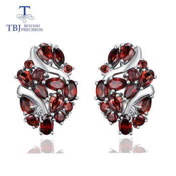 TBJ,Natural Mozambique garnet clasp earring 925 sterling silver fine jewelry for women wife luxury design anniversary party gift - DISCOUNT ITEM  10% OFF All Category