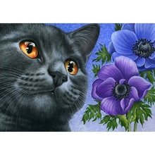 Cat and flower diamond Embroidery diy painting mosaic 3d cross stitch picture H747