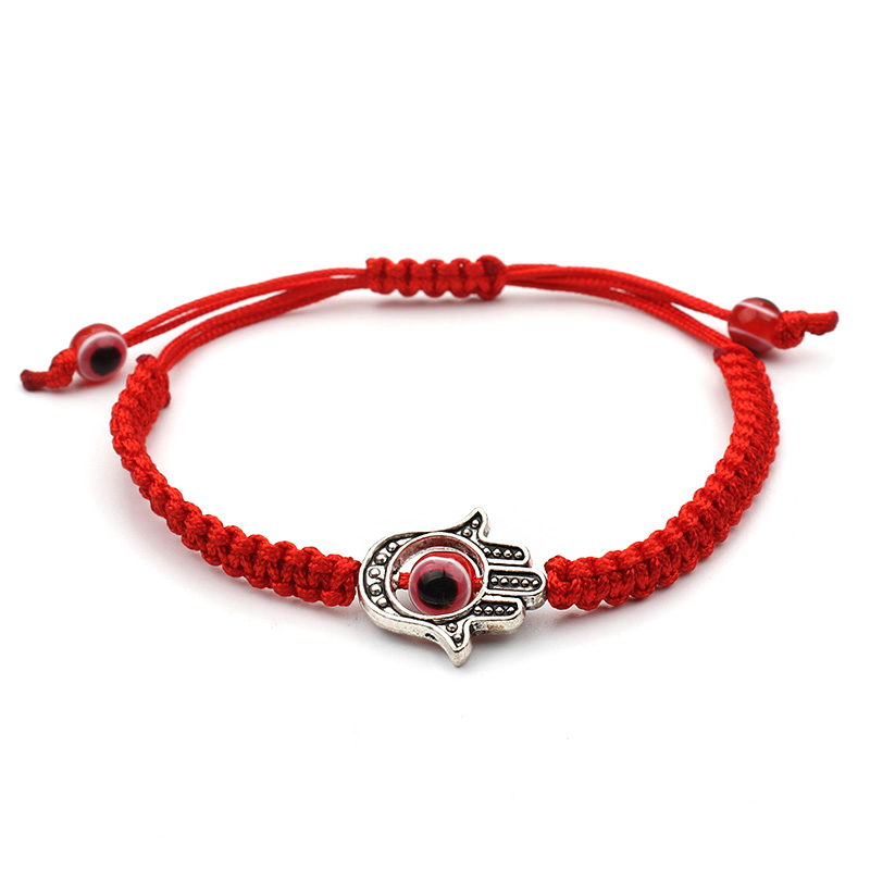 Pulseira de acrílico artesanal red evil eye bead bracelet hamsa jewelry for woman