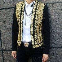 Модный бренд Для мужчин пиджаки куртка плоским воротник костюм свадебное платье Королевский золотистыми пуговицами Slin подходят костюмы му