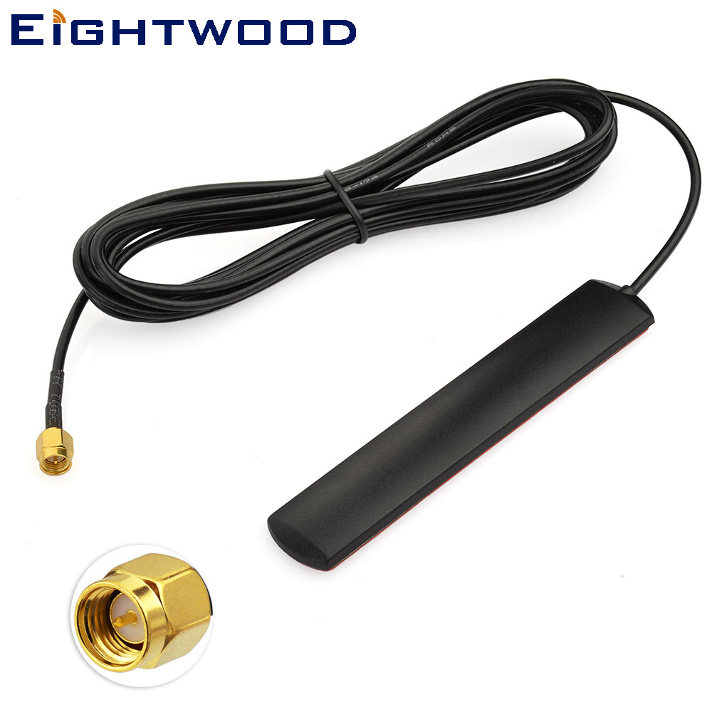Eightwood 4G LTE GSM Antenna for Car Mobile Communication Amplifier Application Window Antenna SMA Male Connector 3m RG174 Cable