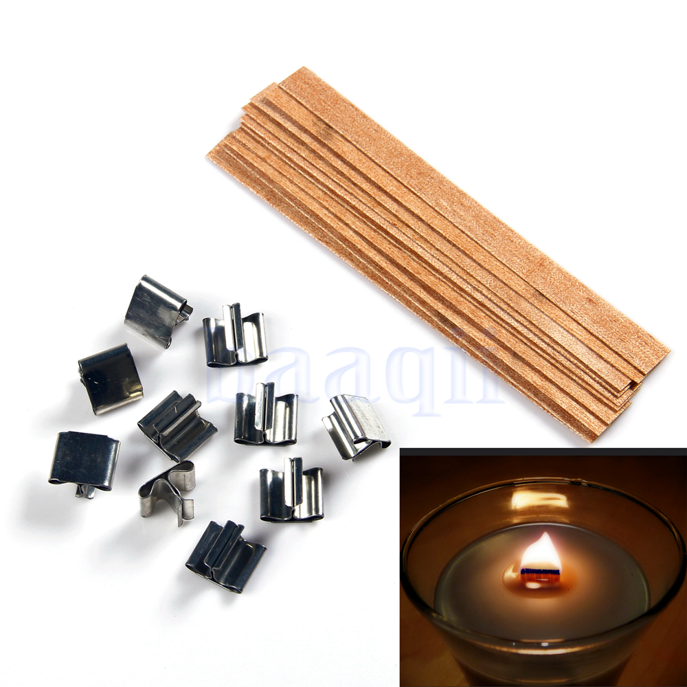 Wooden Candle Wicks Diy: 10X Wooden Candle Wick DIY Candle Making Supplies Candle