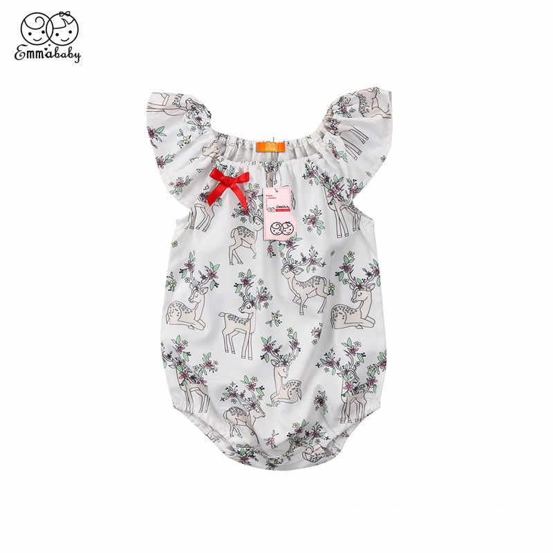 a0963bddd9c Lovely Baby Girls Clothing Hot Newborn Baby Girls Sleeveless Jumpsuit  Animal Deer Print Bodysuit 2018 New