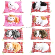 Kids Plush Stuffed Toy Cute Sleeping Cat Press Simulation Sound Animal Doll Gift B116