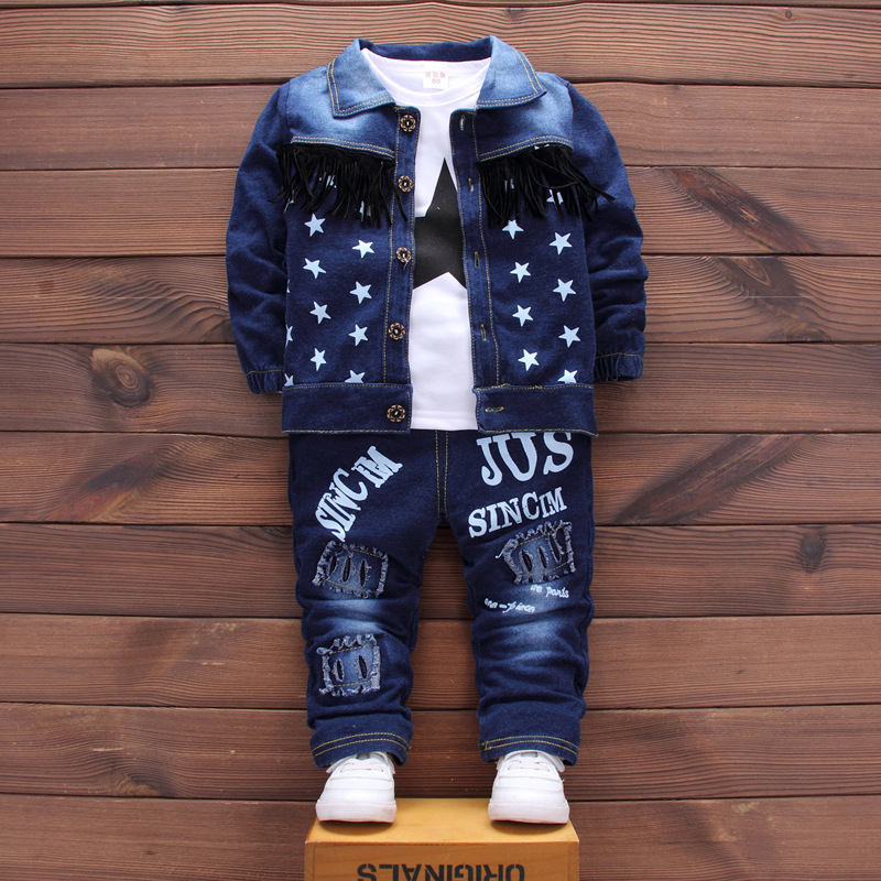 Denim jacket Jeans T-shirt Sets 3pcs Star Pattern Baby Boys Girls Clothing Autumn Spring Fashion Suits Children Clothes Winter boy jeans jacket spring and autumn 2016 new children s denim jeans baby denim jacket