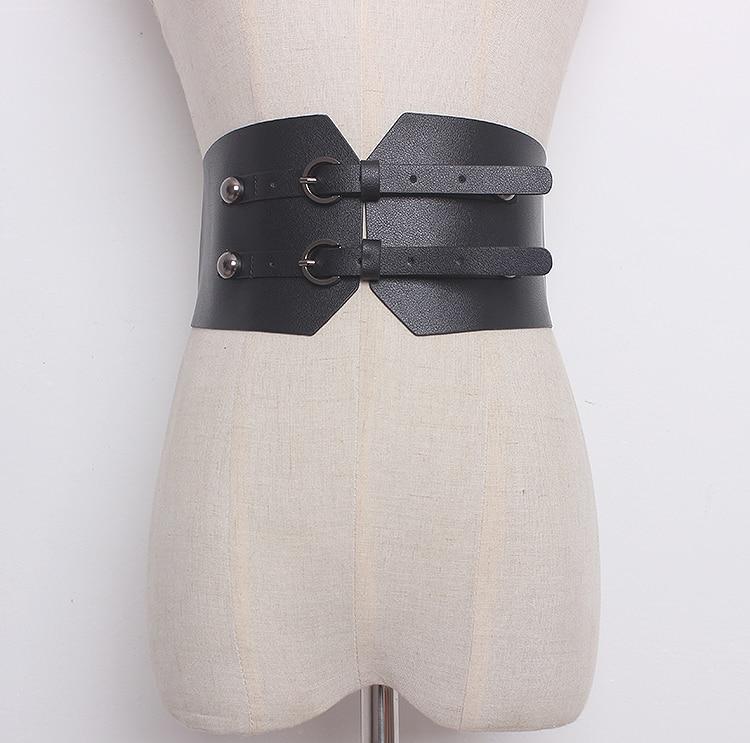 Women's Runway Fashion Solid PU Leather Cummerbunds Female Dress Corsets Waistband Belts Decoration Wide Belt R1357