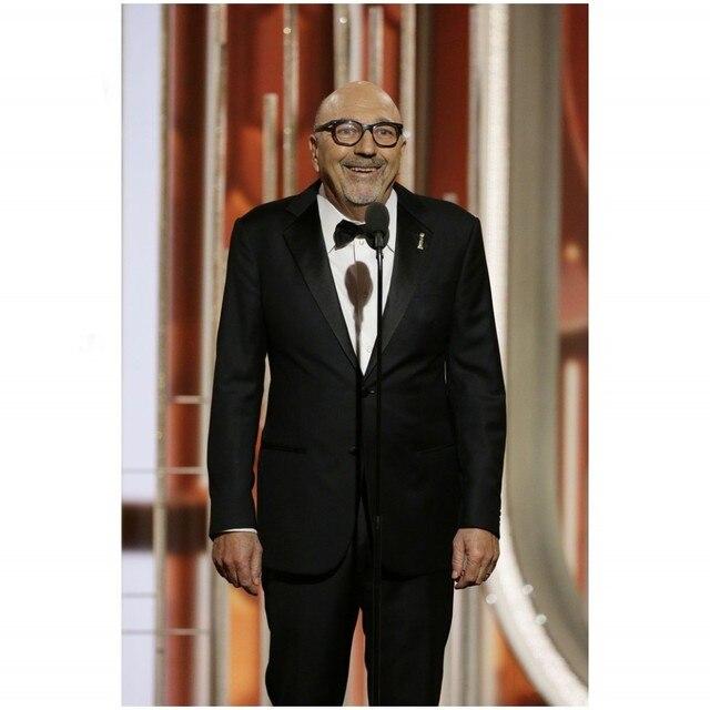 2016 Golden Globe Award lorenzo soria Esmoquin Muesca Solapa Del Padrino de boda de Los Hombres Trajes de Boda Trajes de Hombre Negro