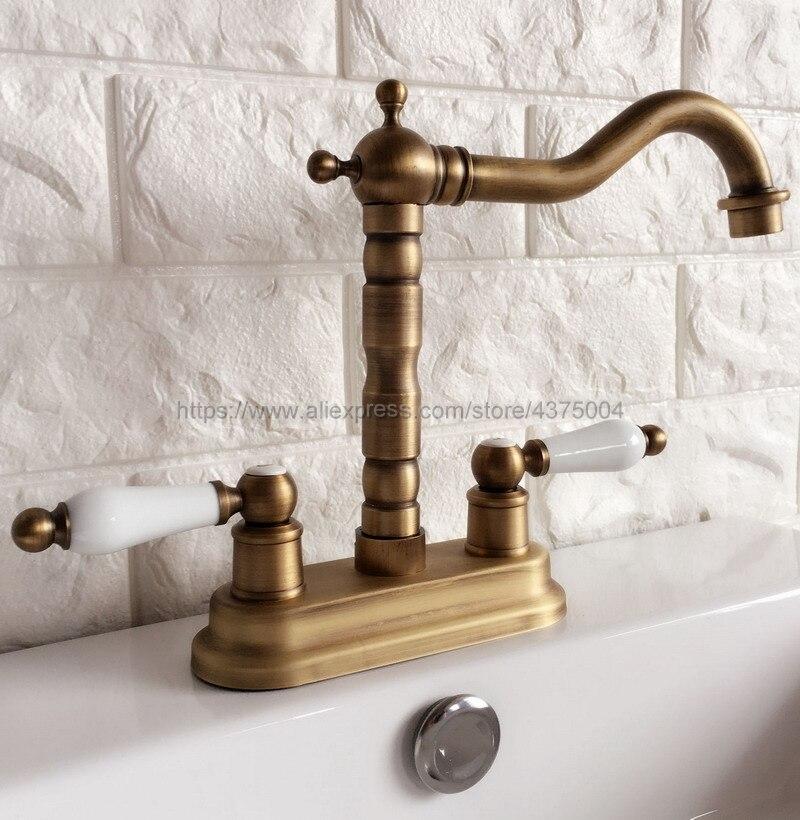 Laiton Antique Bathoom robinet de cuisine bec pivotant double poignées lavabo mélangeur robinets pont monté Nan065 - 6