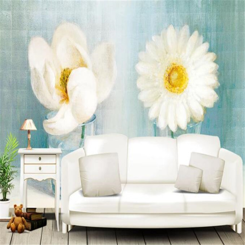 3D Wall Paper for Walls Hand-Painted Non-Woven Wallpapers Glass Bottle White Flowers Murals Living Room Decorative Wallpapers 3d wall paper for walls creative gray non woven wallpapers abstract retro geometric mural hotel living room decorative wallpaper